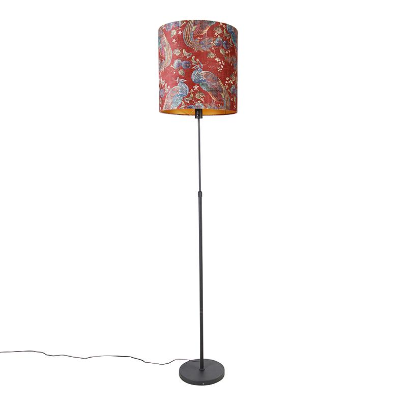 Vloerlamp zwart kap pauw dessin rood 40 cm - Parte
