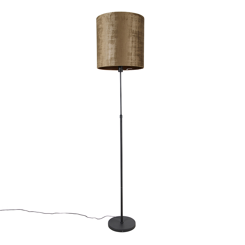 Vloerlamp zwart kap bruin 40 cm verstelbaar - Parte