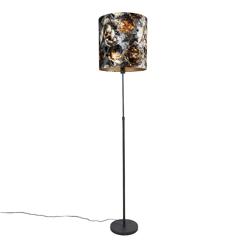 Vloerlamp zwart bloemen dessin 40 cm verstelbaar - Parte