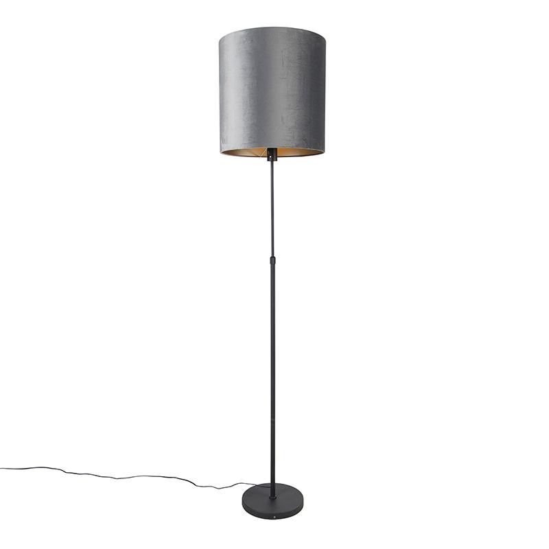 Vloerlamp zwart kap grijs 40 cm verstelbaar - Parte
