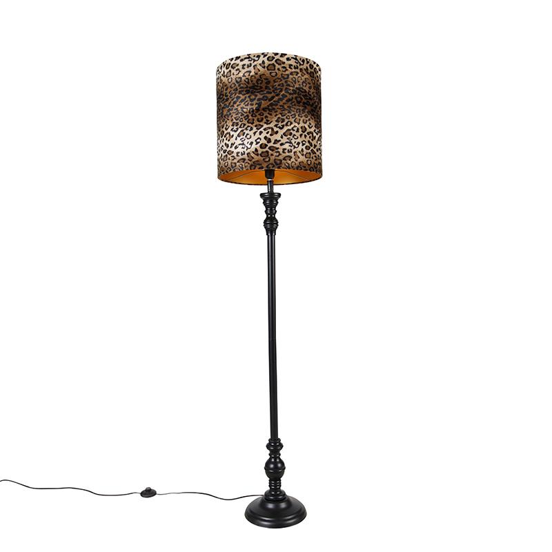 Vloerlamp zwart met kap luipaard 40 cm - Classico