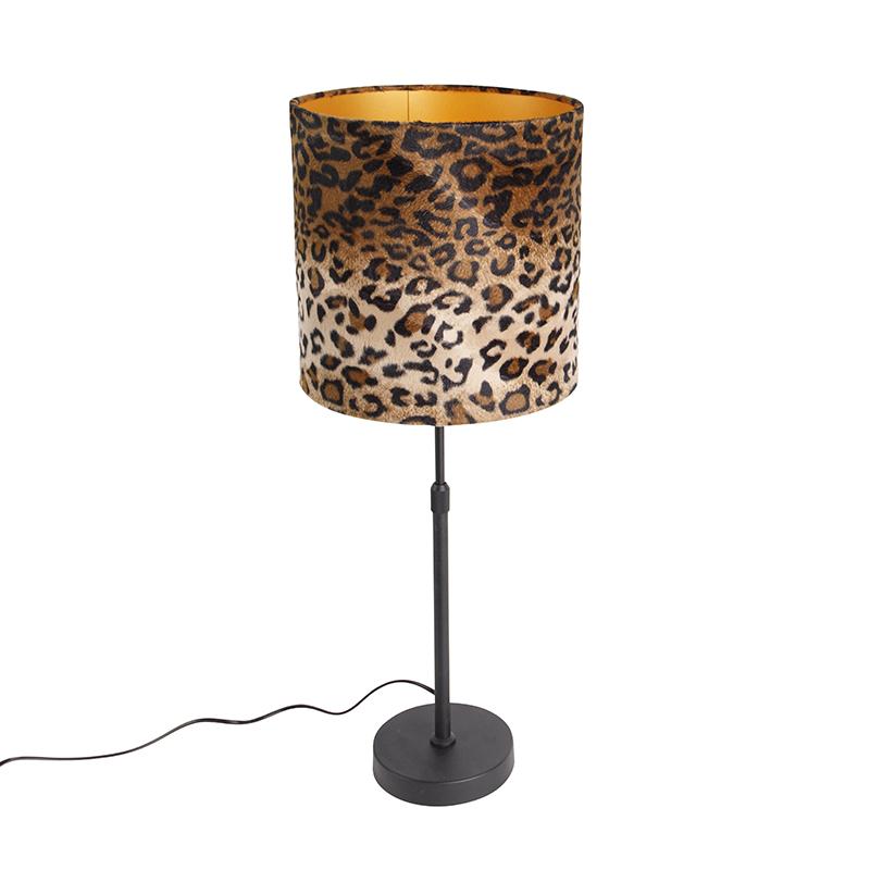Tafellamp zwart velours kap luipaard dessin 25 cm - Parte