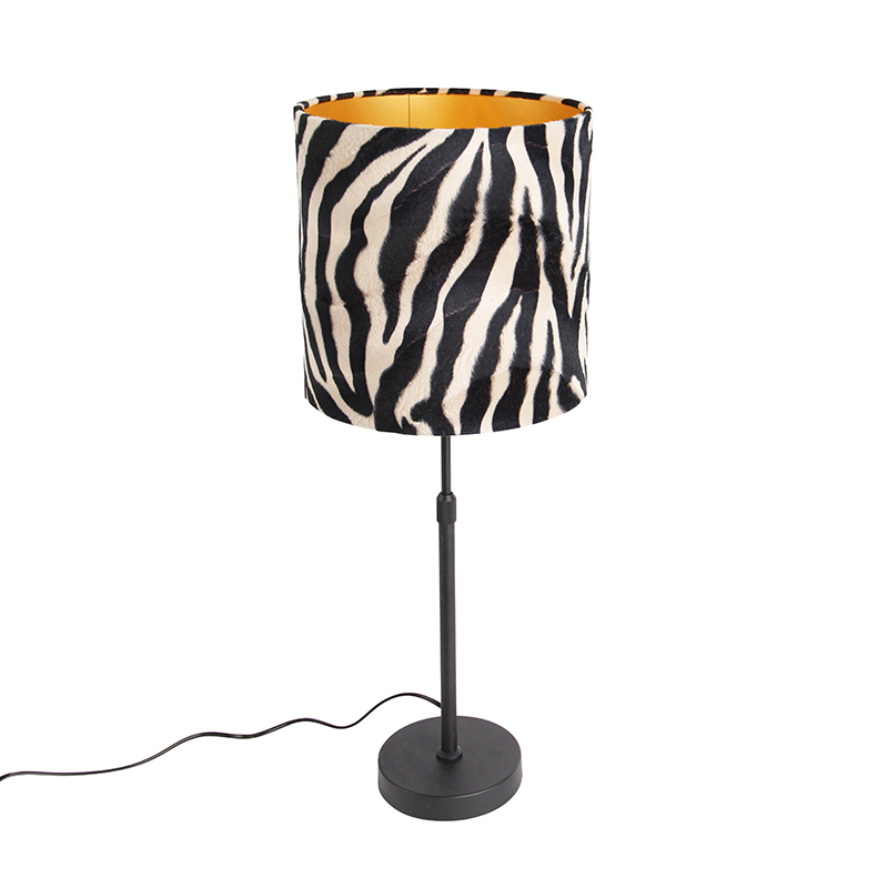 Tafellamp zwart met kap zebra 25 cm verstelbaar - Parte