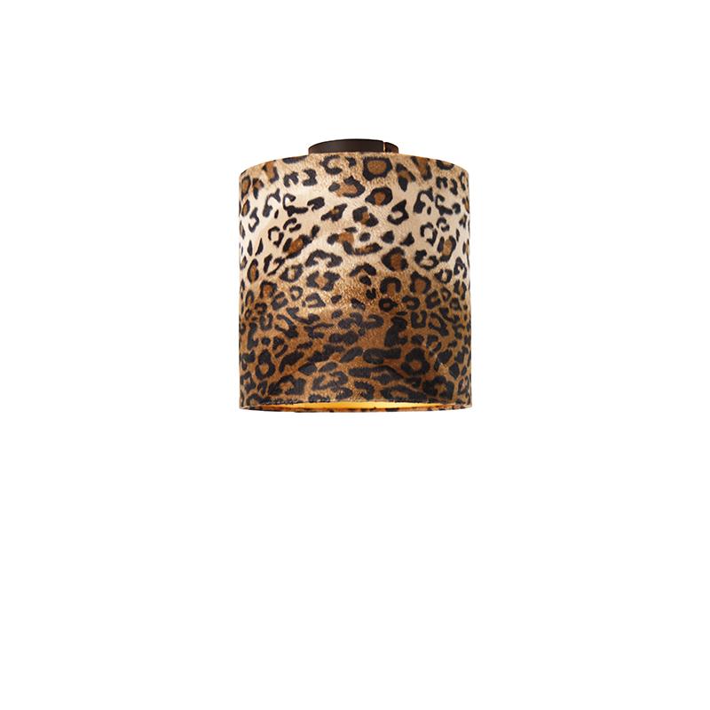Plafondlamp mat zwart kap luipaard dessin 25 cm - Combi