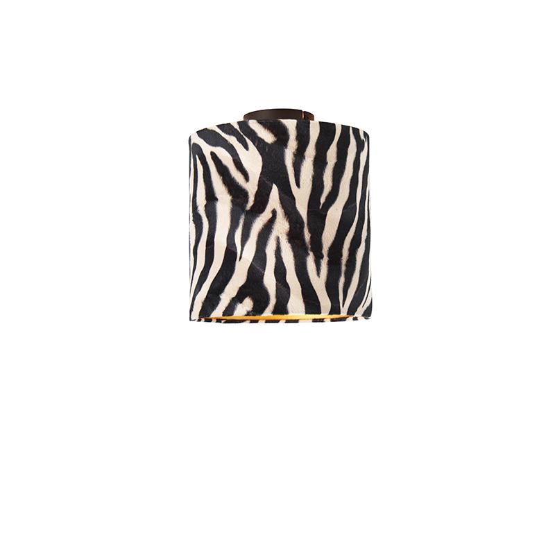 Plafondlamp mat zwart velours kap zebra dessin 25 cm - Combi