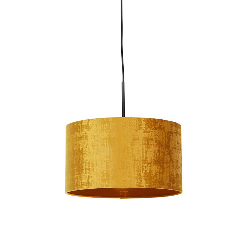 Moderne hanglamp zwart met kap geel 35 cm - Combi
