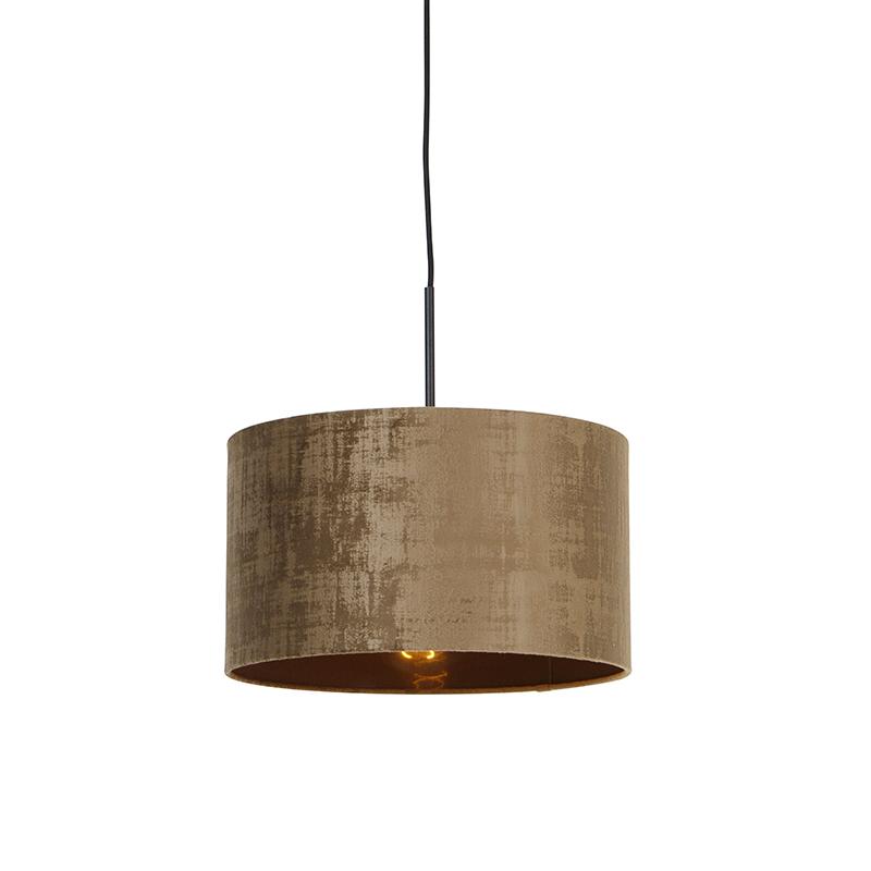Moderne hanglamp zwart met kap bruin 35 cm - Combi