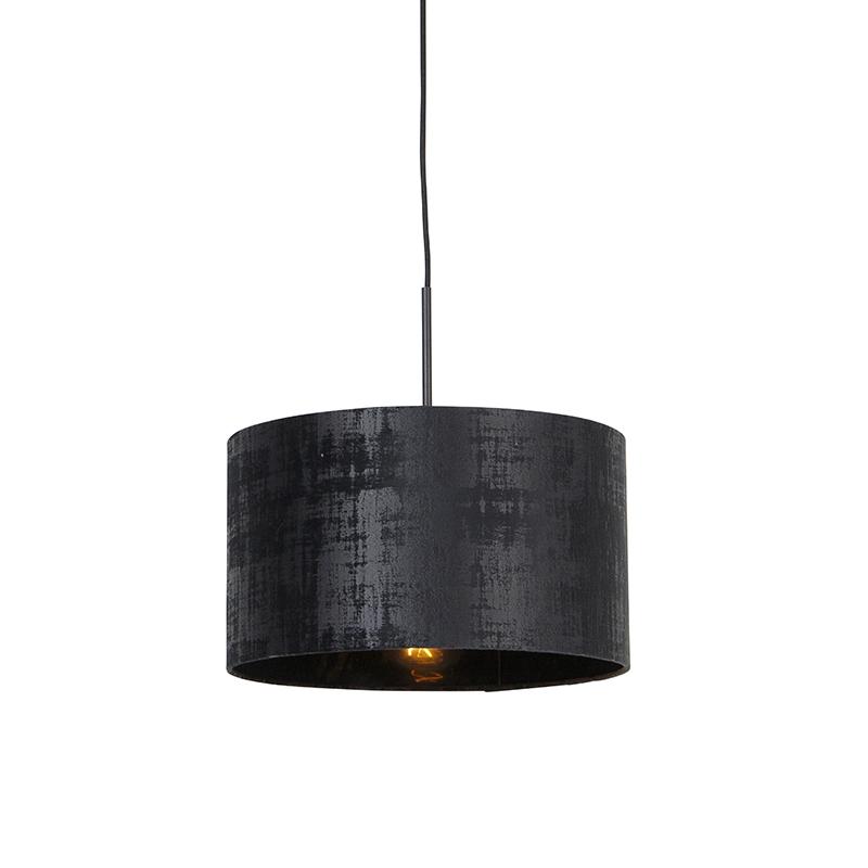Moderne hanglamp zwart met kap zwart 35 cm - Combi