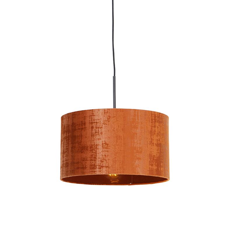 Moderne hanglamp zwart met kap oranje 35 cm - Combi