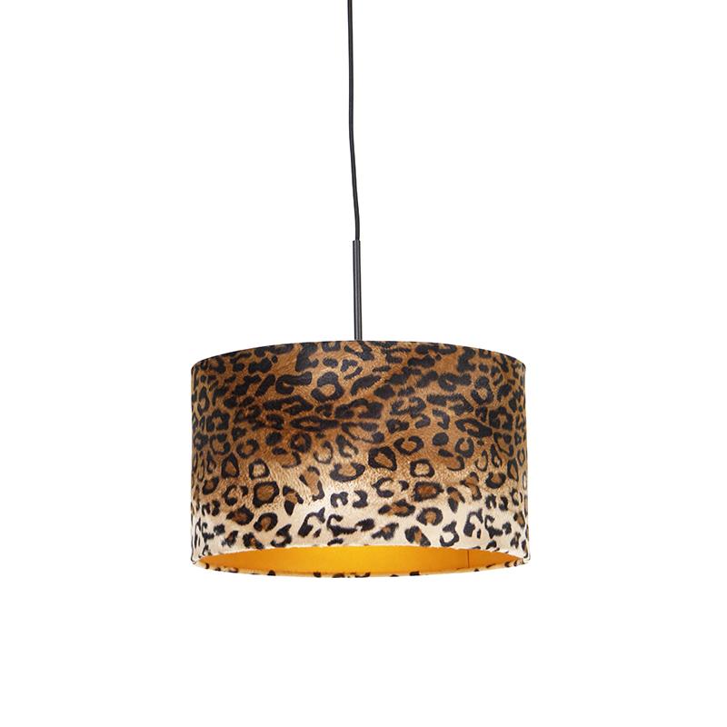Moderne hanglamp zwart met kap luipaard 35 cm - Combi
