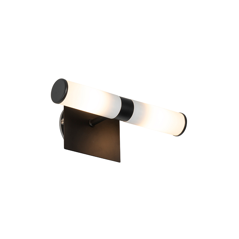 Moderne wandlamp zwart IP44 2-lichts - Bath
