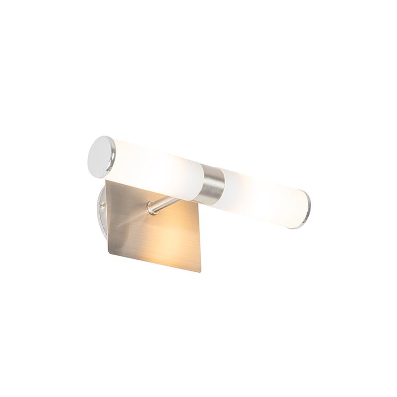 Moderne wandlamp staal IP44 2-lichts - Bath