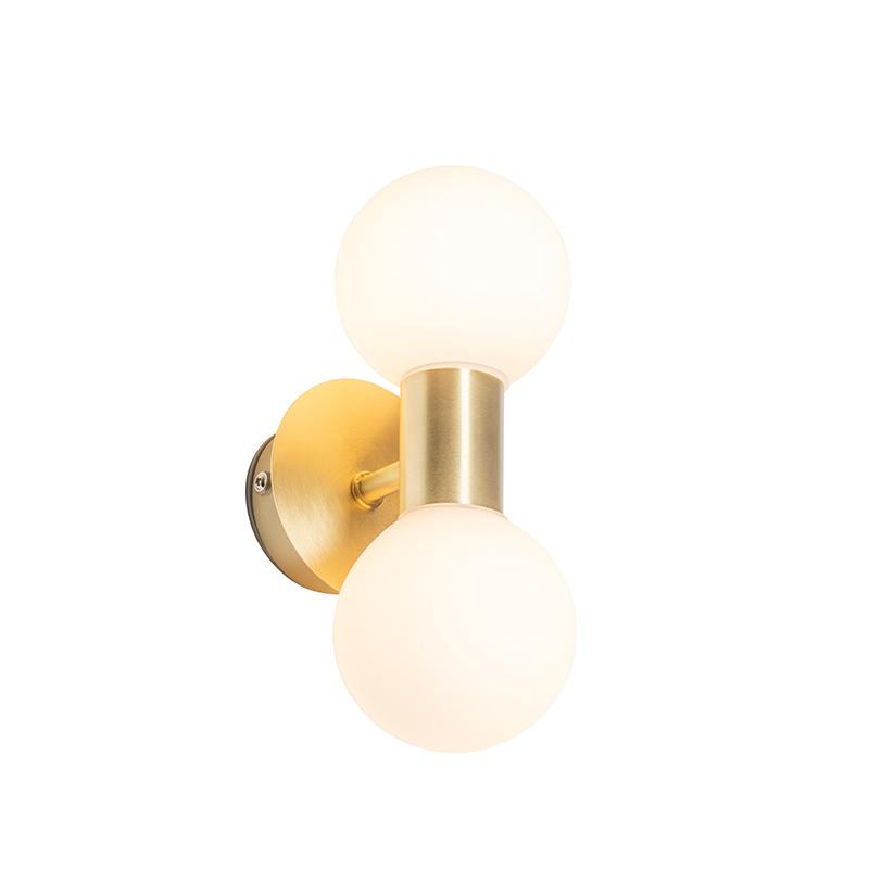 Moderne wandlamp messing IP44 2-lichts - Cederic