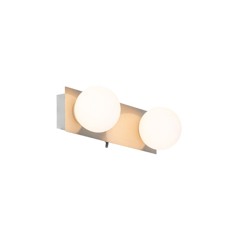 Moderne wandlamp staal IP44 2-lichts - Cederic