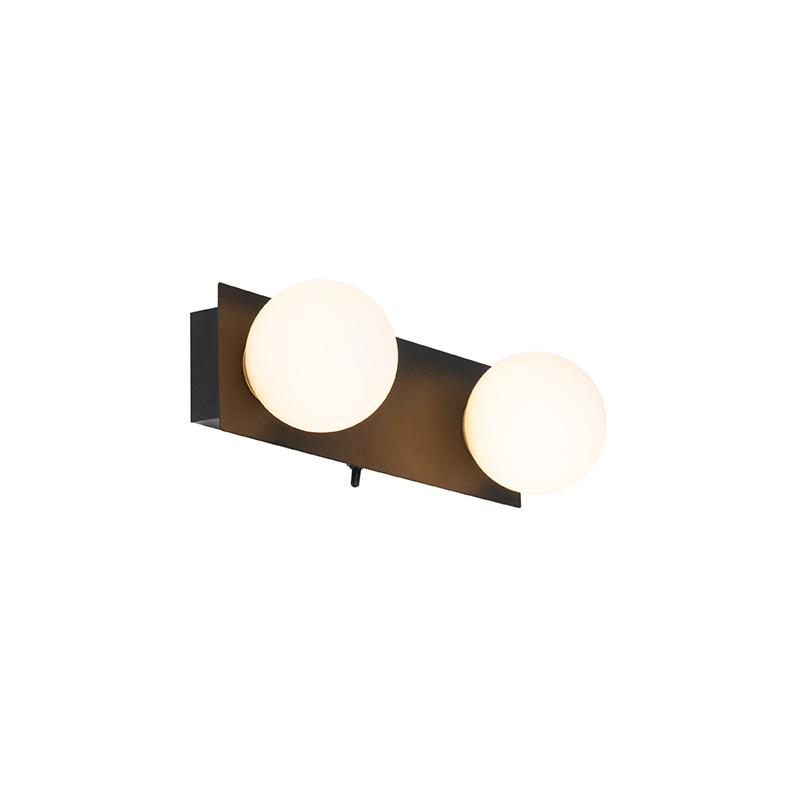 Moderne wandlamp zwart IP44 2-lichts - Cederic