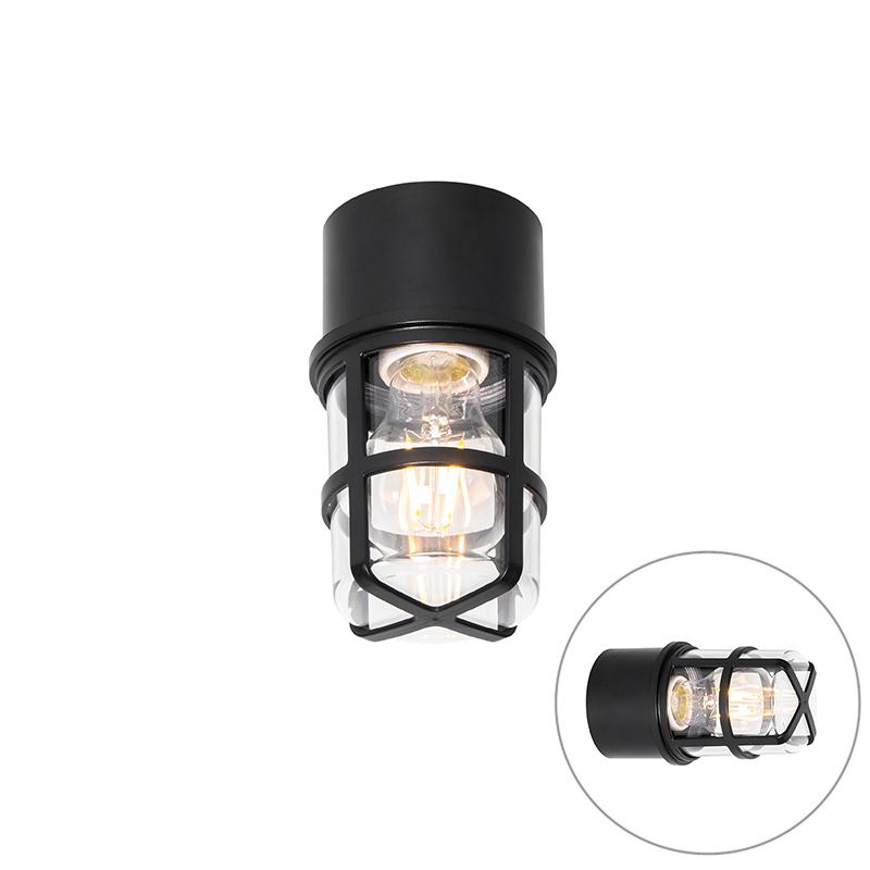 Plafond- en wandlamp zwart met heldere kap IP54 - Kiki
