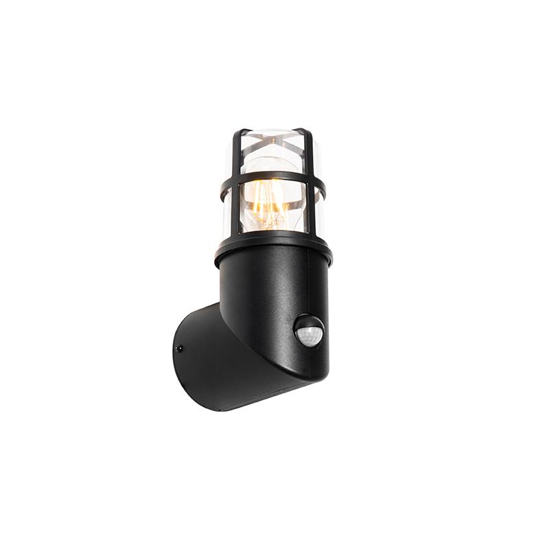 Buiten wandlamp zwart IP54 20,8 cm met bewegingsmelder - Kiki