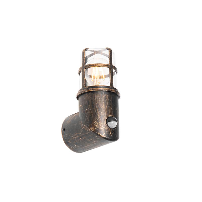 Antieke buiten wandlamp goud IP54 met bewegingssensor - Kiki