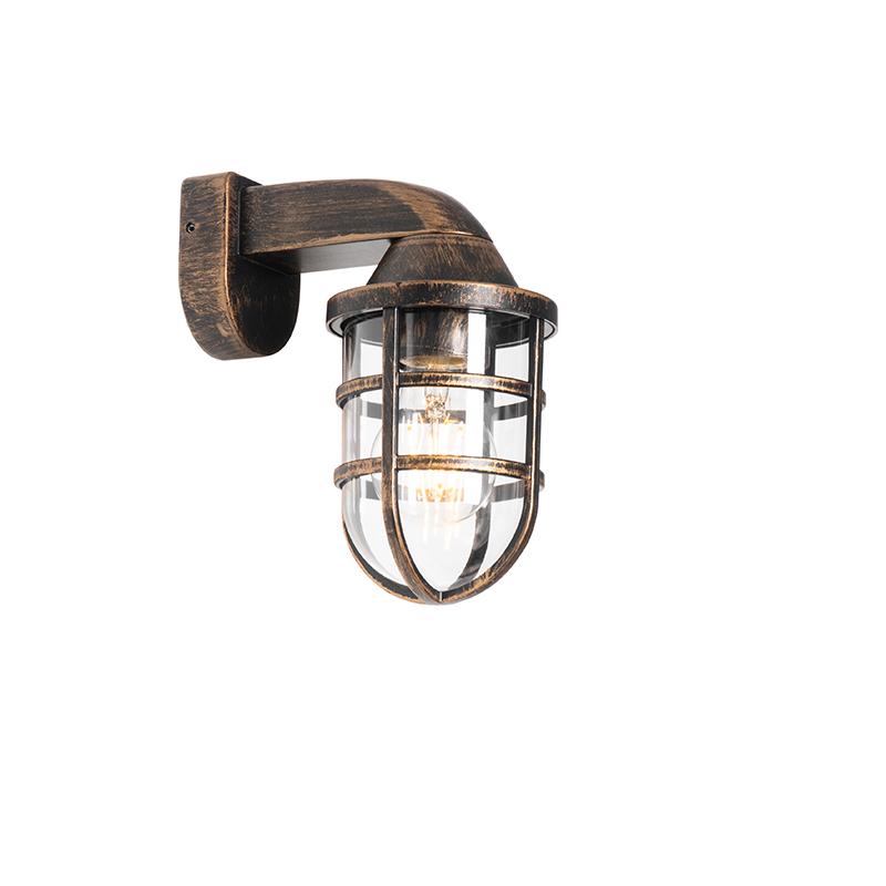 Vintage buiten wandlamp messing IP54 - Joeri