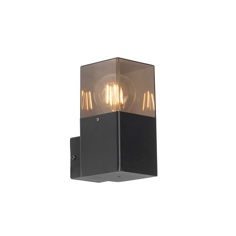 Moderne buiten wandlamp zwart IP44 met smoke glas - Denmark