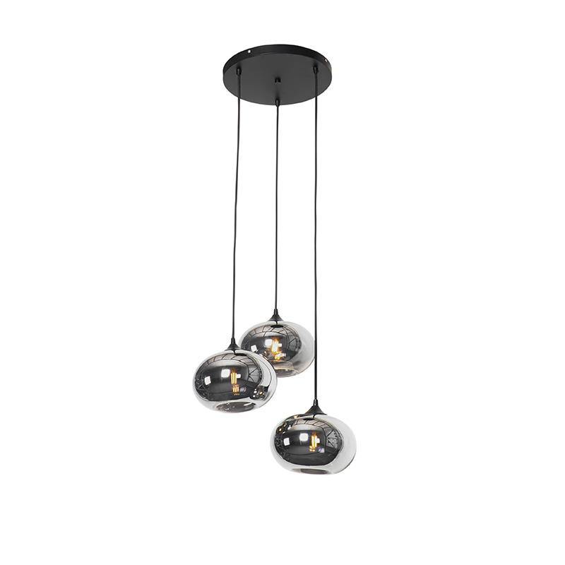 Art Deco hanglamp zwart 3-lichts met smoke glas - Busa