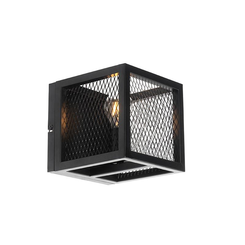 Industriële wandlamp zwart - Cage Mesh