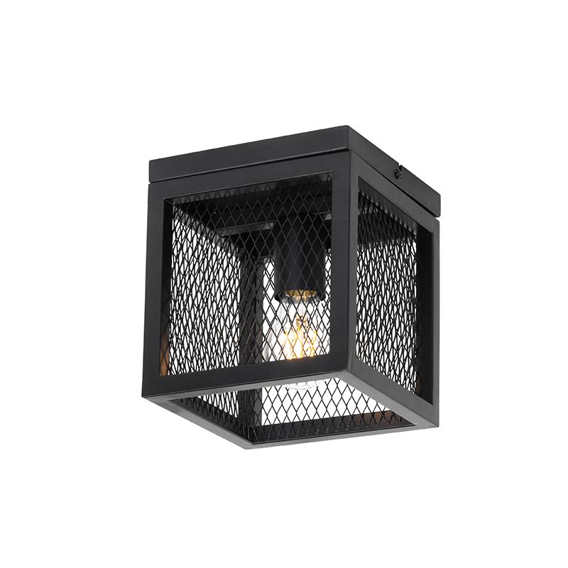 Industriële plafondlamp zwart - Cage Mesh