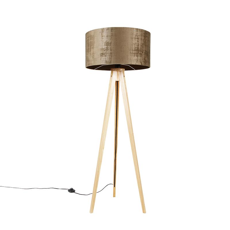 Vloerlamp hout met stoffen kap bruin 50 cm - Tripod Classic
