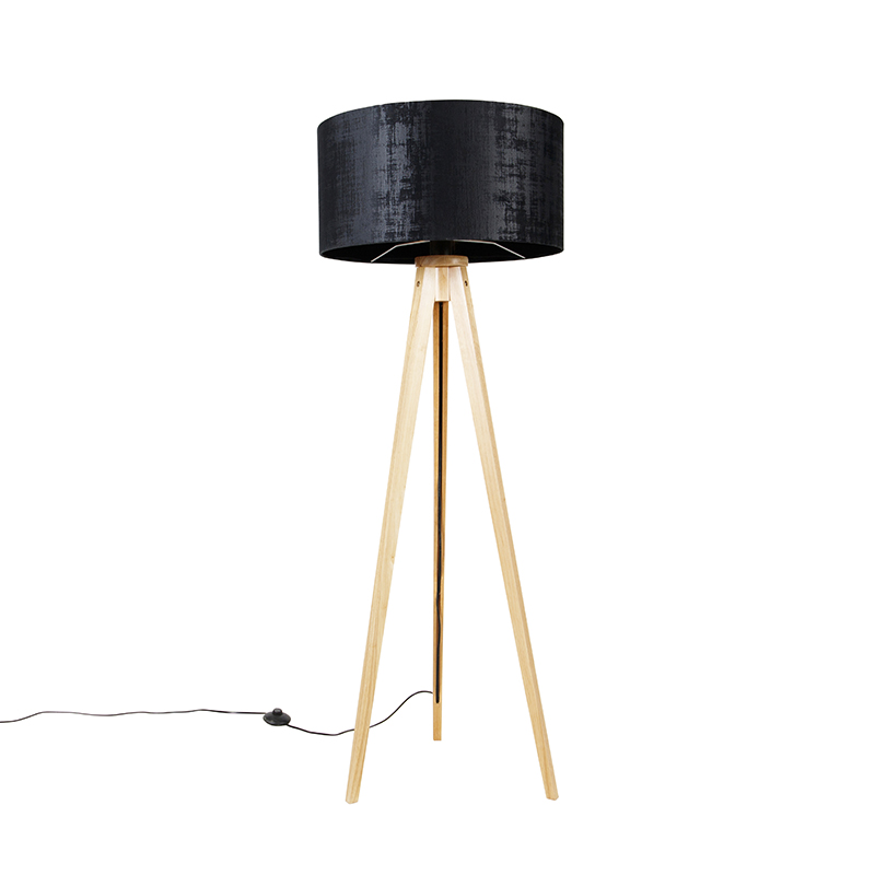 Vloerlamp hout met stoffen kap zwart 50 cm Tripod Classic