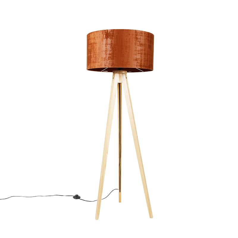 Vloerlamp tripod naturel met kap oranje 50 cm - Tripod Classic