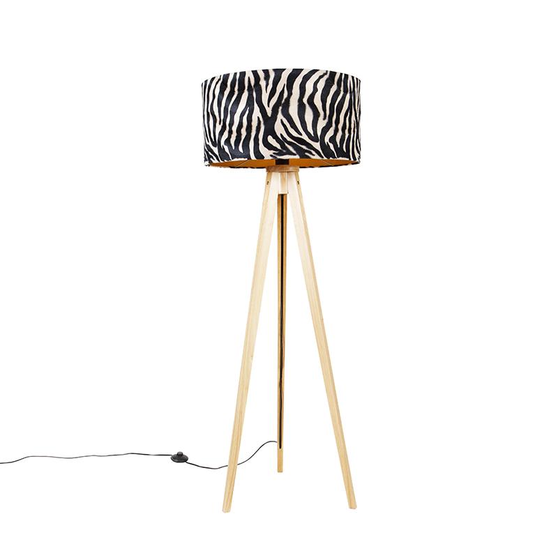 Vloerlamp tripod naturel met kap zebra 50 cm - Tripod Classic
