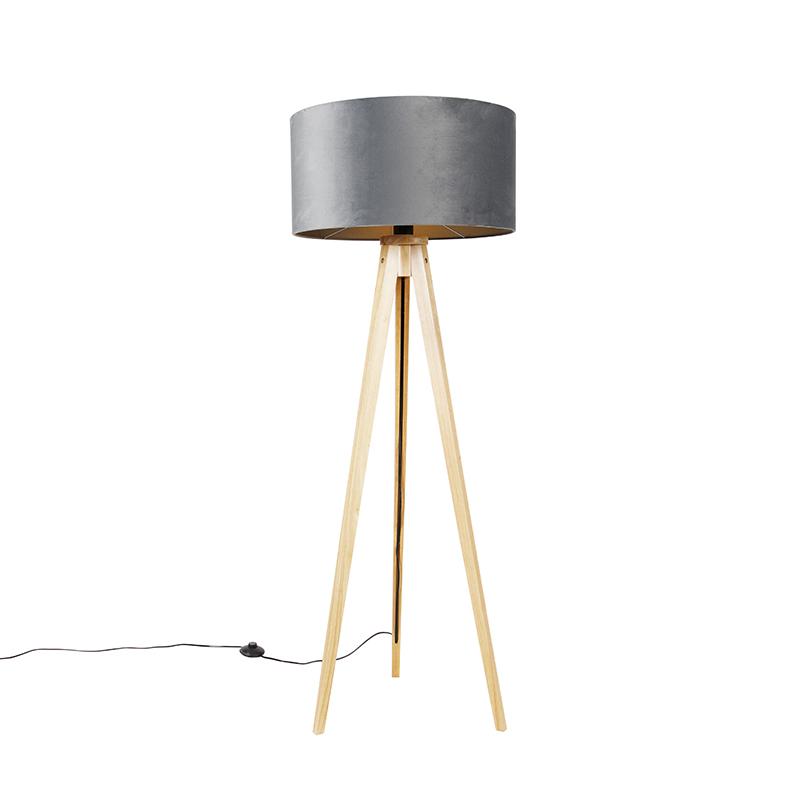 Vloerlamp hout met stoffen kap grijs 50 cm - Tripod Classi