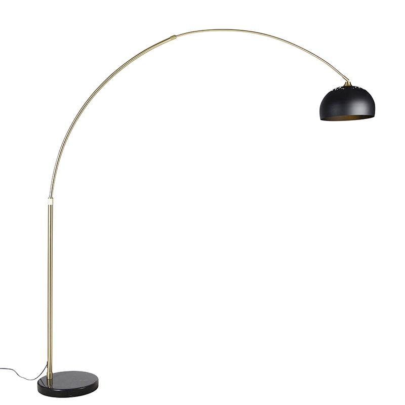 Moderne booglamp messing met marmeren voet en zwarte kap 32,5 cm - XXL