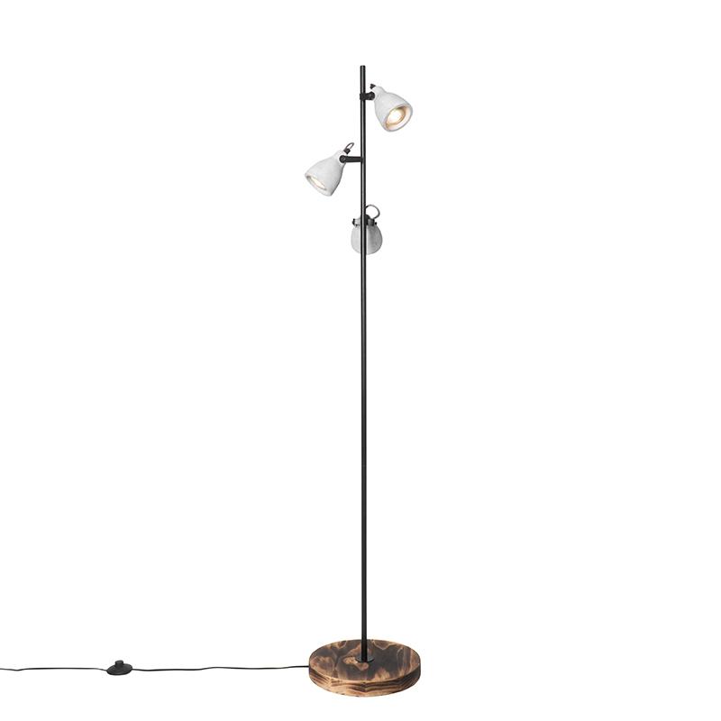 Industriële vloerlamp hout met beton 3-lichts - Creto