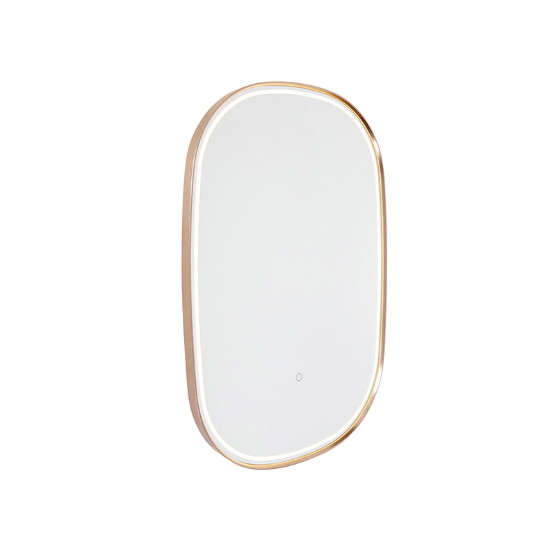 Badkamerspiegel koper incl. LED met touch dimmer ovaal - Miral