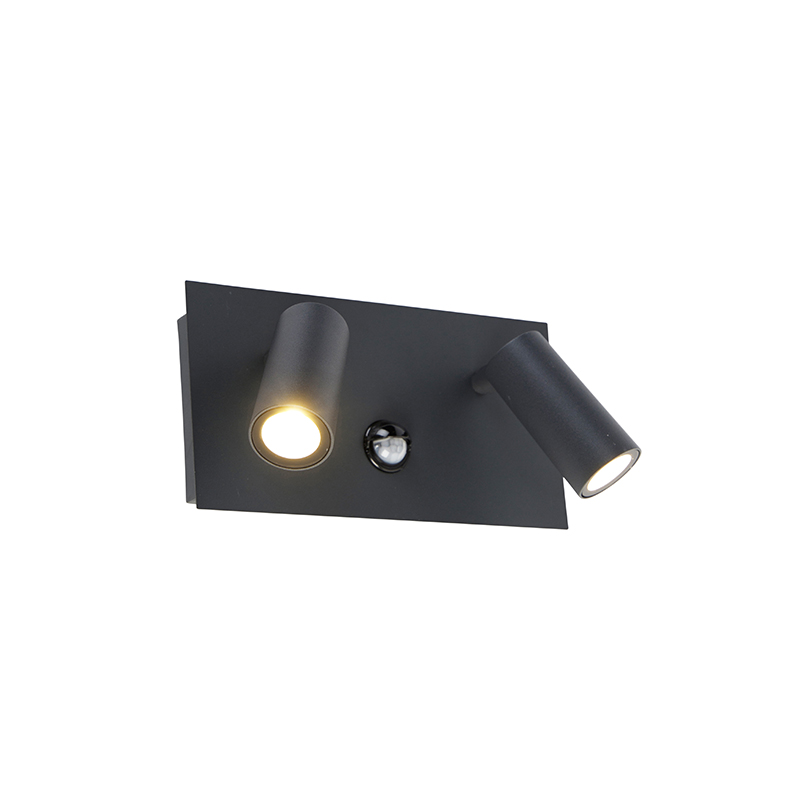 Wandlamp donkergrijs IP54 bewegingssensor incl. LED 2-lichts - Simon