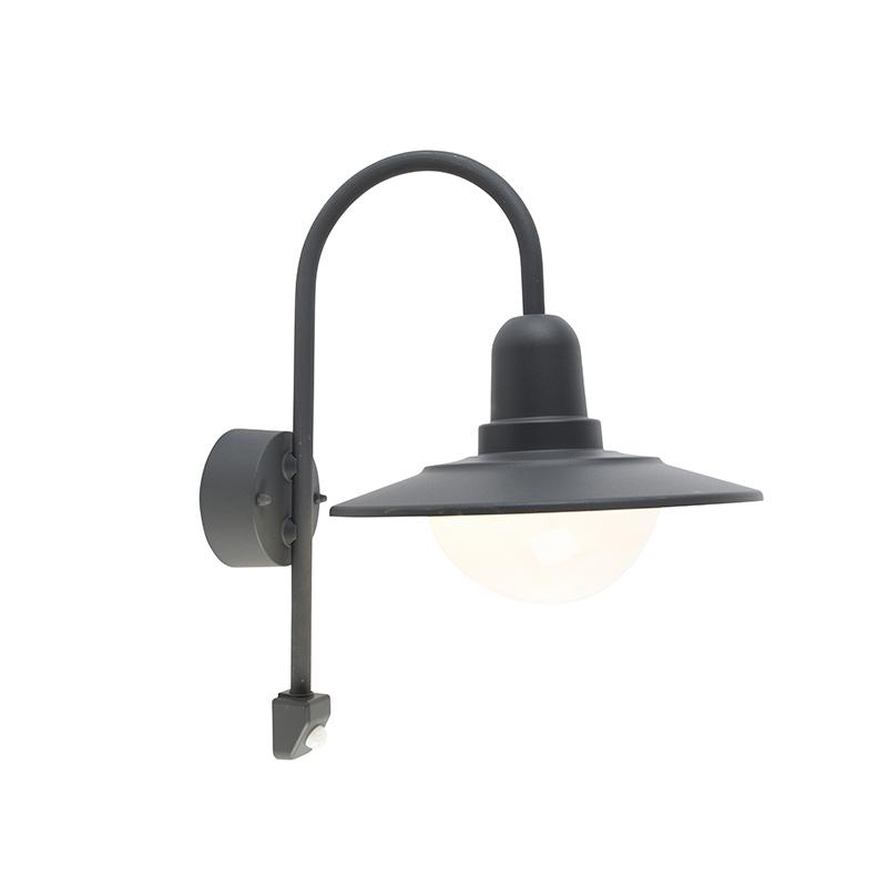 Buiten wandlamp donkergrijs IP44 bewegingssensor - Herman