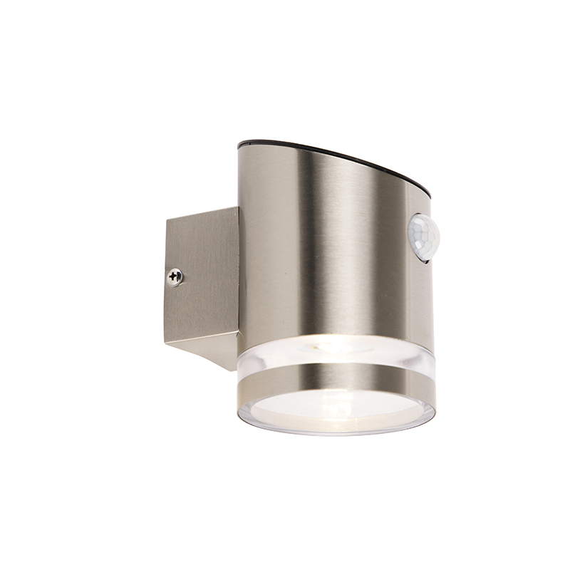 Buiten wandlamp grijs met bewegingssensor IP44 solar - Salina