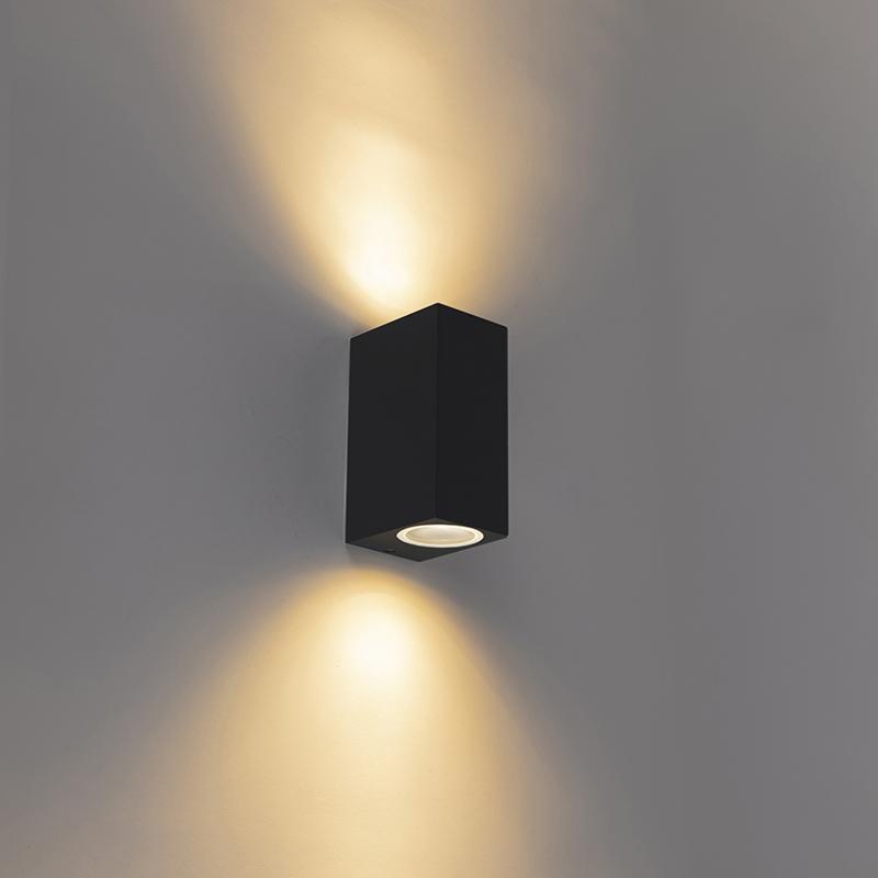 Smart moderne wandlamp zwart IP44 incl. 2 Wifi GU10 - Baleno II