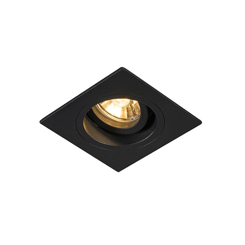 Smart inbouwspot zwart vierkant incl. Wifi GU10 - Chuck