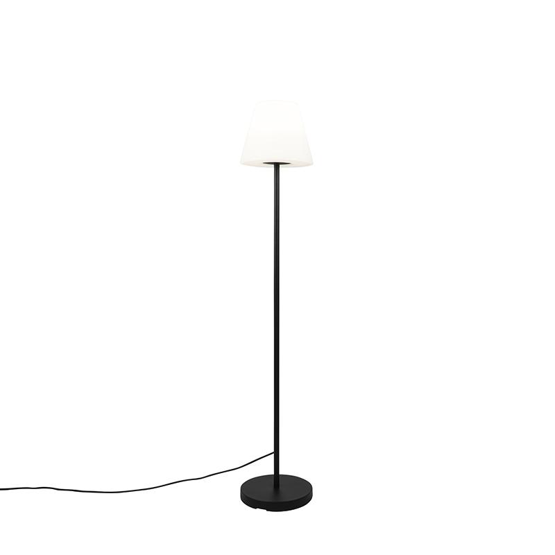 Smart moderne buiten vloerlamp zwart kap wit incl. Wifi A60 - Virginia
