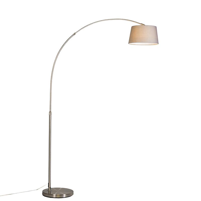 Smart booglamp staal kap grijs incl. WiFi A60 - Arc Basic