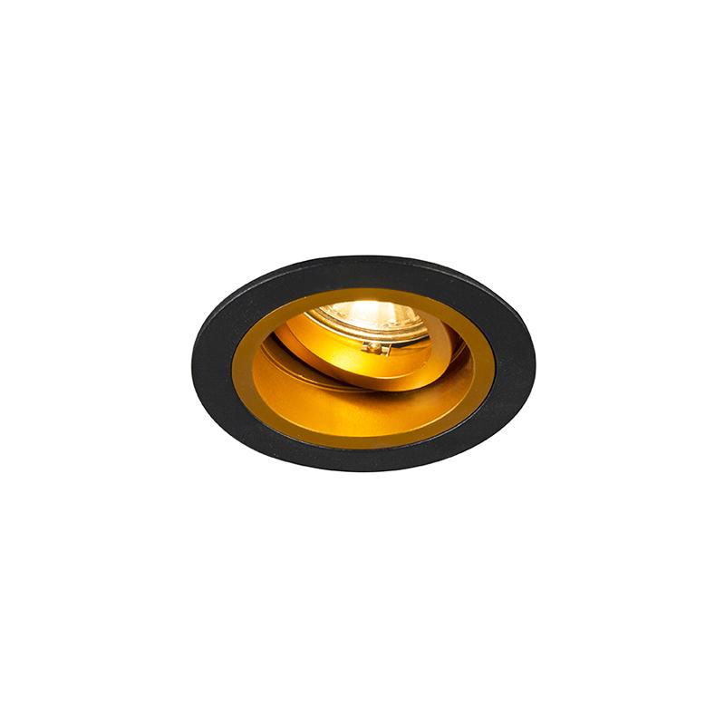 Smart inbouwspot zwart met goud kantelbaar incl. Wifi GU10 - Chuck