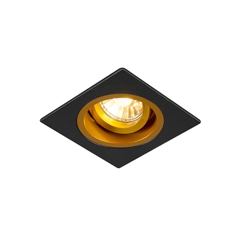 Smart inbouwspot zwart met goud vierkant incl. Wifi GU10 - Chuck