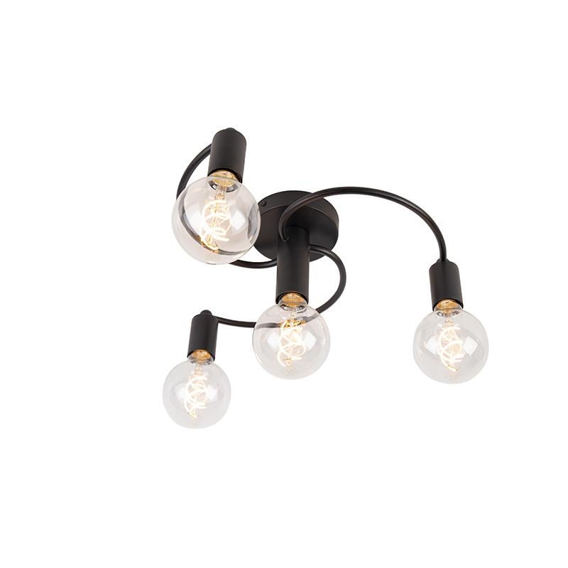 Smart plafondlamp zwart incl. 4 Wifi G95 - Facil
