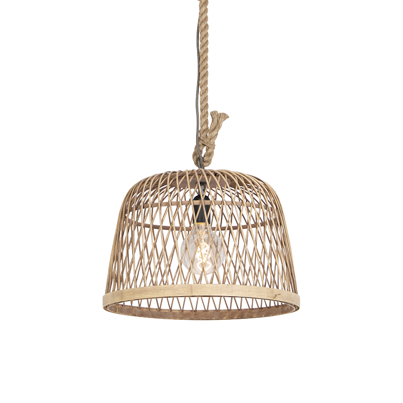 Smart landelijke hanglamp rotan incl. Wifi G125 lichtbron - Calamus