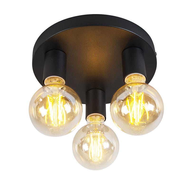 Smart plafondlamp zwart incl. wifi 3 G95 lichtbronnen - Facil