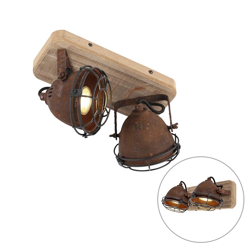 Smart spot roestbruin met hout incl. 2 wifi GU10 - Gina