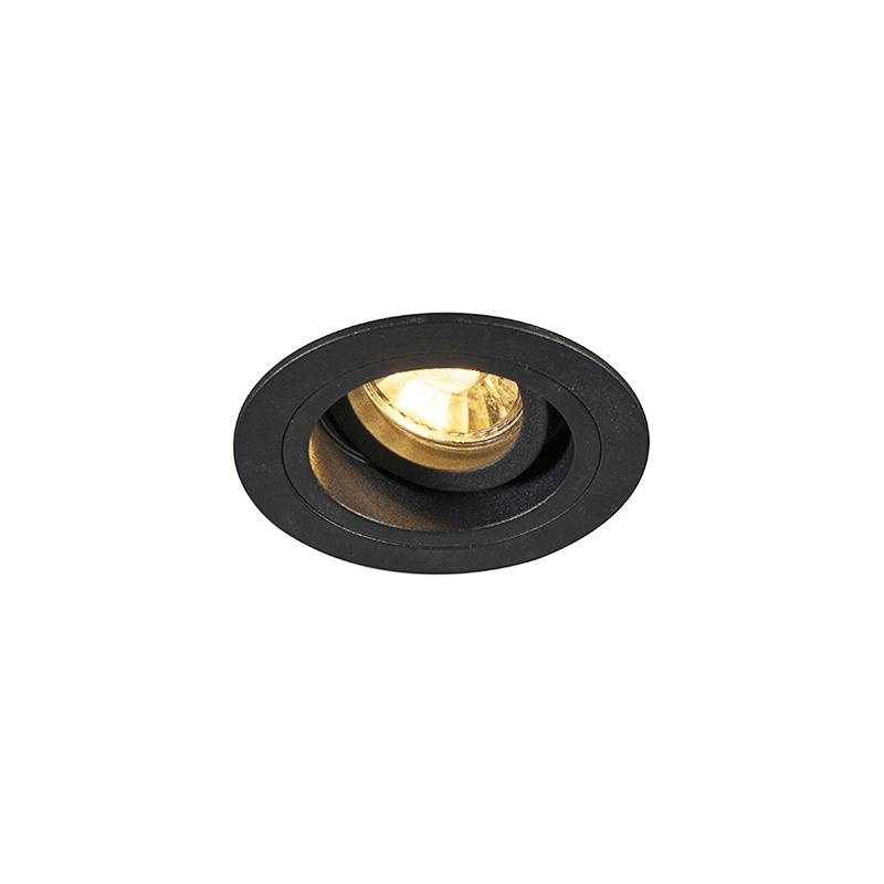 Smart inbouwspot zwart rond incl. wifi GU10 - Chuck