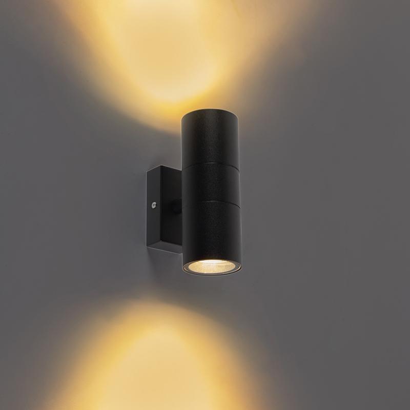 Smart buitenwandlamp zwart IP44 incl. 2 wifi GU10 - Duo